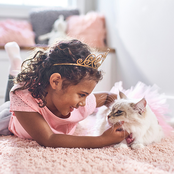 Young girl in pink shirt and princess crown scratches chin of white long-haired cat lying on pink rug.